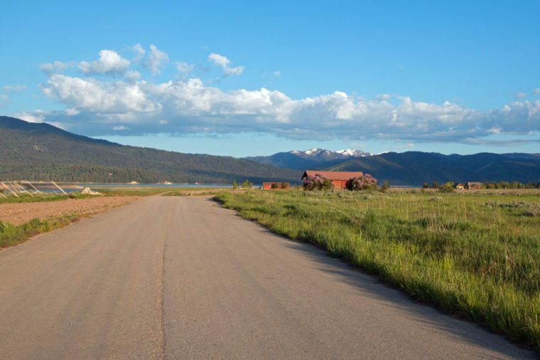 Road along Snake River in Alpine Wyoming USA