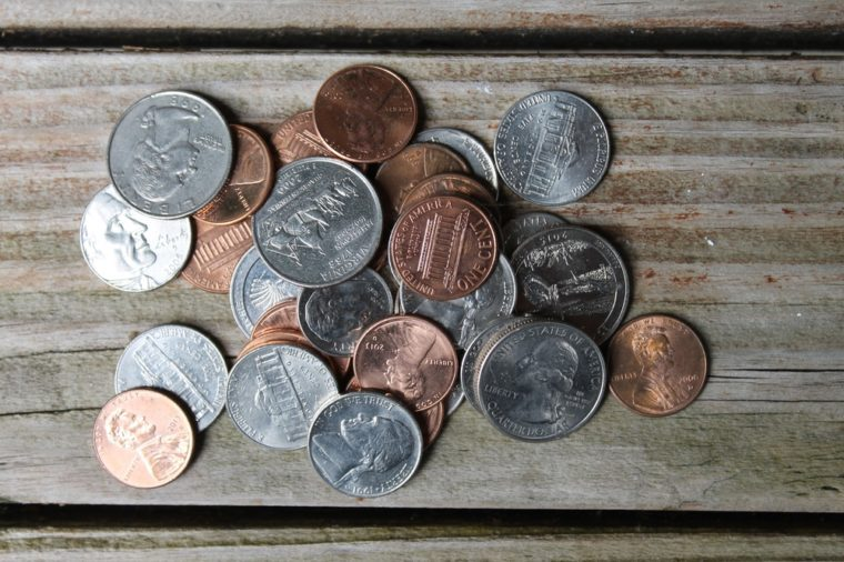 loose change on wood table