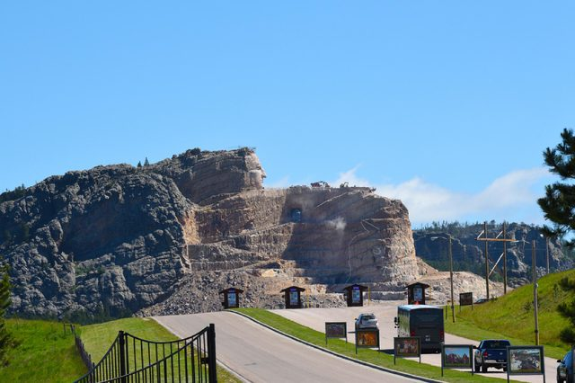 CRAZY HORSE, SOUTH DAKOTA - JUNE 23, 2017: Crazy Horse Memorial. The worlds largest mountain monument under construction in the Black Hills, in Custer County.