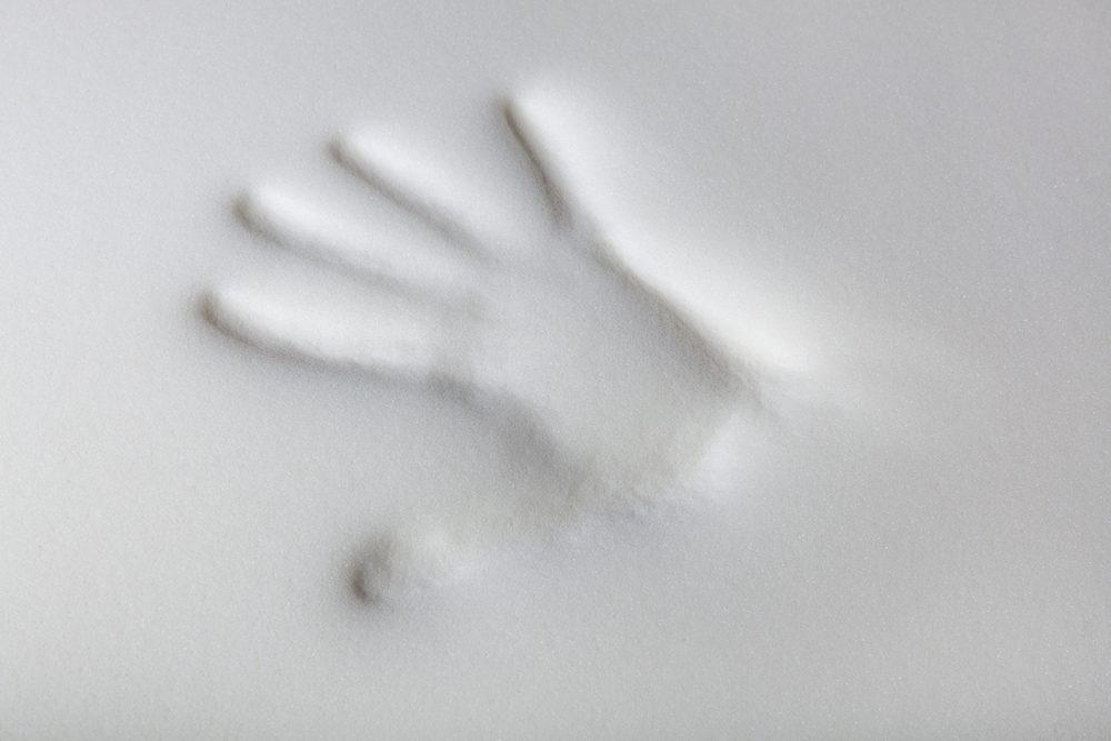 handprint in memory foam