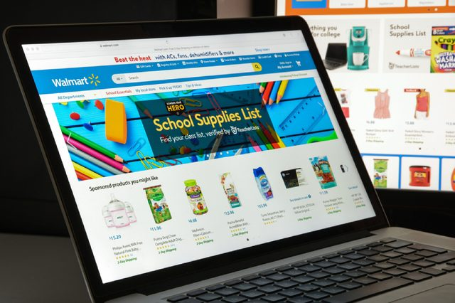Walmart website homepage. It is an American multinational retailing corporation that operates as a chain of hypermarkets. Walmart logo visible.