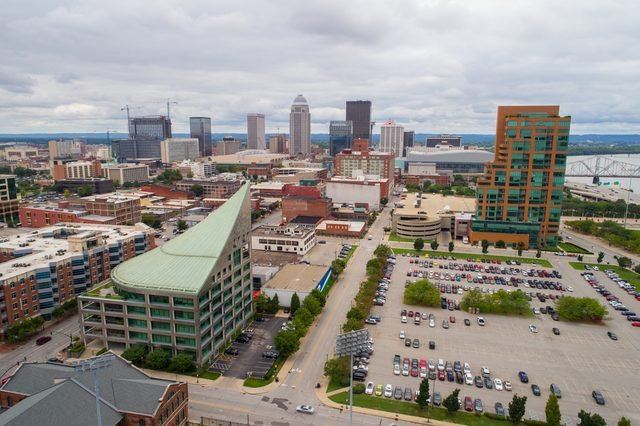 Aerial view of Downtown DesMoines Iowa