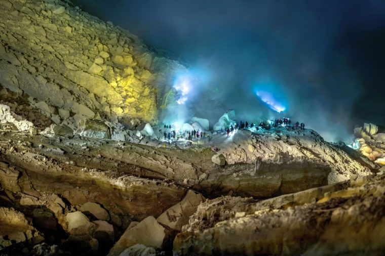 Blue fire of Mount Ijen , Blue Flame in Kawah Ijen volcano, Popular landmark in East Java,Indonesian.
