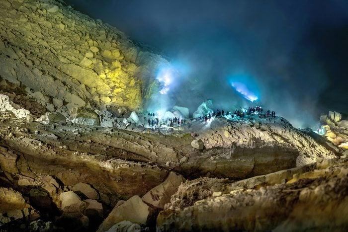 Blue fire of Mount Ijen , Blue Flame in Kawah Ijen volcano, Popular landmark in East Java,Indonesian.