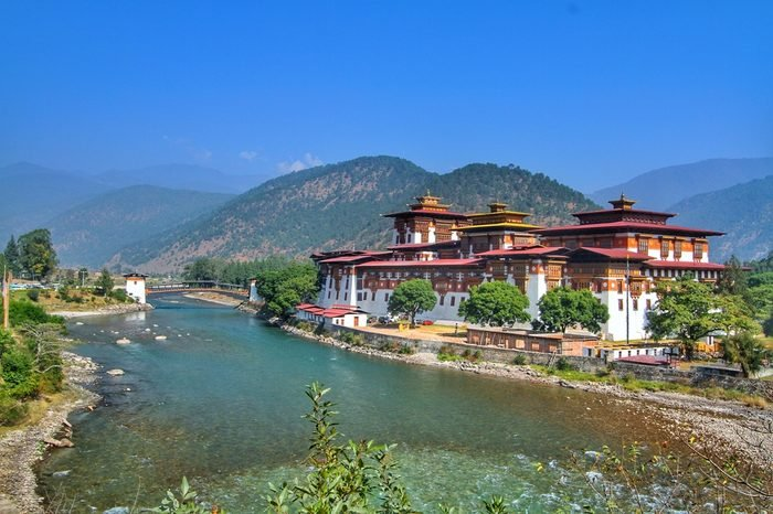Punakha Dzong Monastery or Pungthang Dewachen Phodrang (Palace of Great Happiness) and Mo Chhu river in Punakha, the old capital of Bhutan.