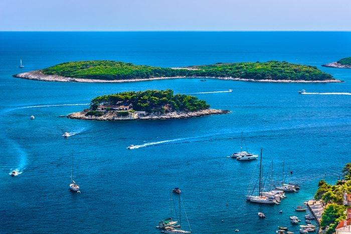 Aerial seascape of famous sailing destination in Croatia, Island Hvar summer scenery in Europe, Mediterranean.