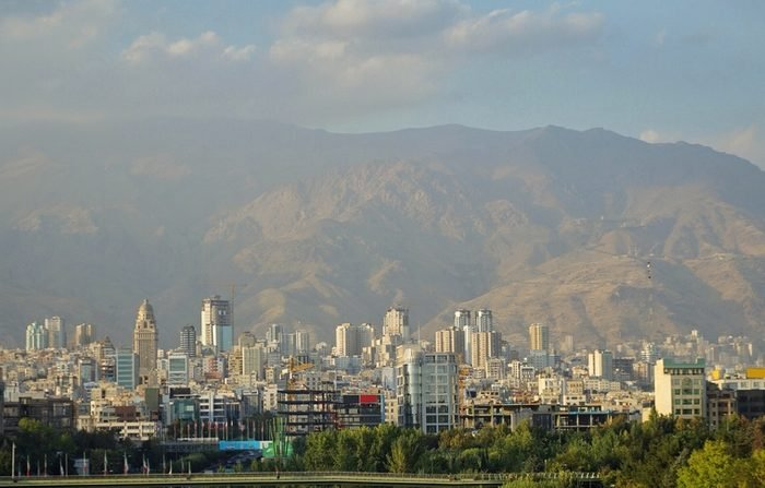 Tehran capital city of Iran with Mt. Tochal for background