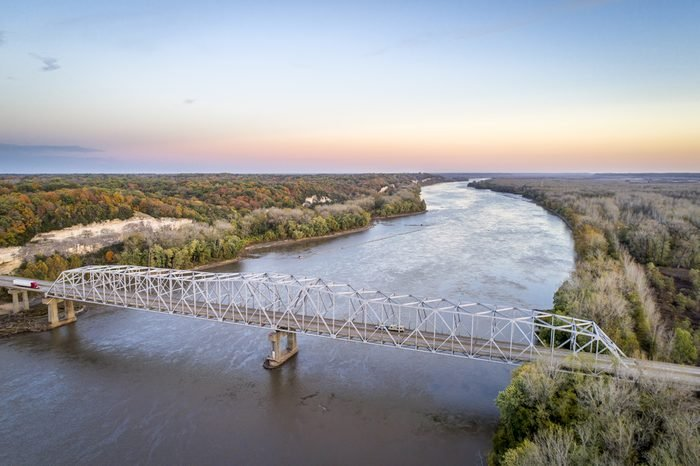 Missouri River bridge and I-70 highway near Rocheport, MO (Taylor's Landing) - aerial view in late October evening