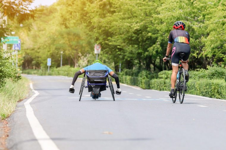 Para-cycling and bike practice in the park.