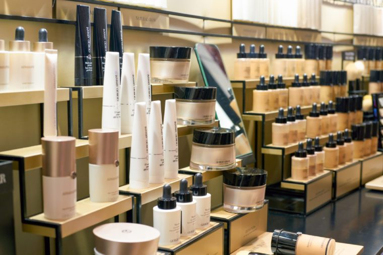 ROME, ITALY - CIRCA NOVEMBER, 2017: Giorgio Armani beauty products on display at a second flagship store of Rinascente in Rome.