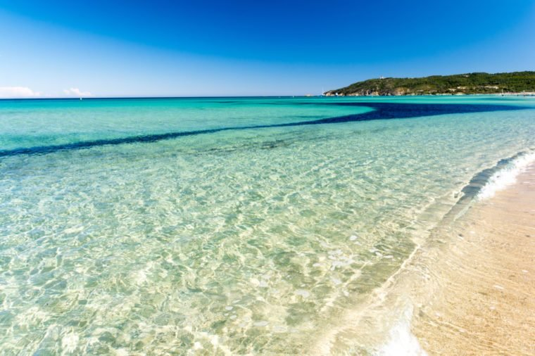 crystal clear water on Pampelonne beach near Saint Tropez, French riviera, cote d'azur, France