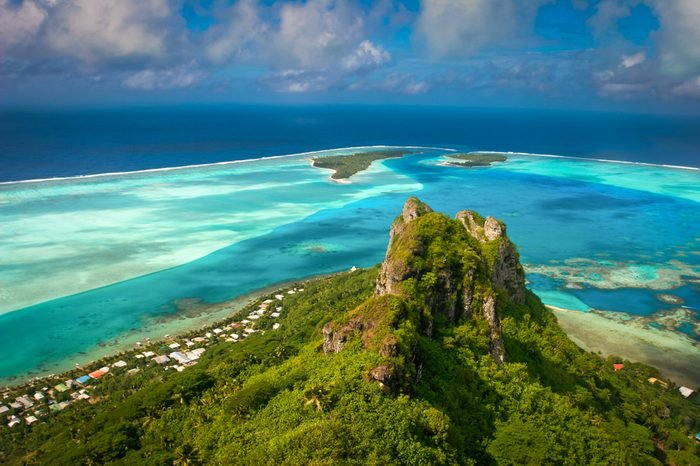 View on the peak mountain, Maupiti, French Polynesia, Society Islands