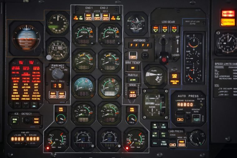 Control panel in a plane cockpit