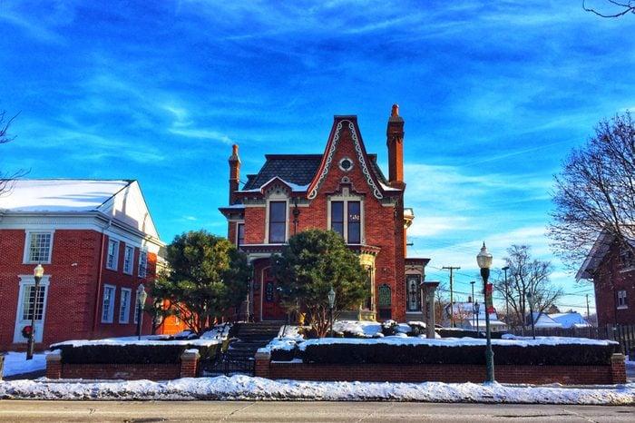 Architecture in Michigan,USA,architecture in the snow day at Michigan,Winter in Michigan