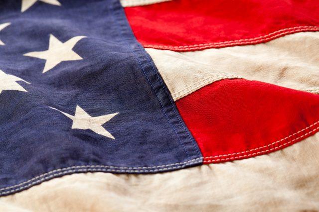Rippled vintage American flag