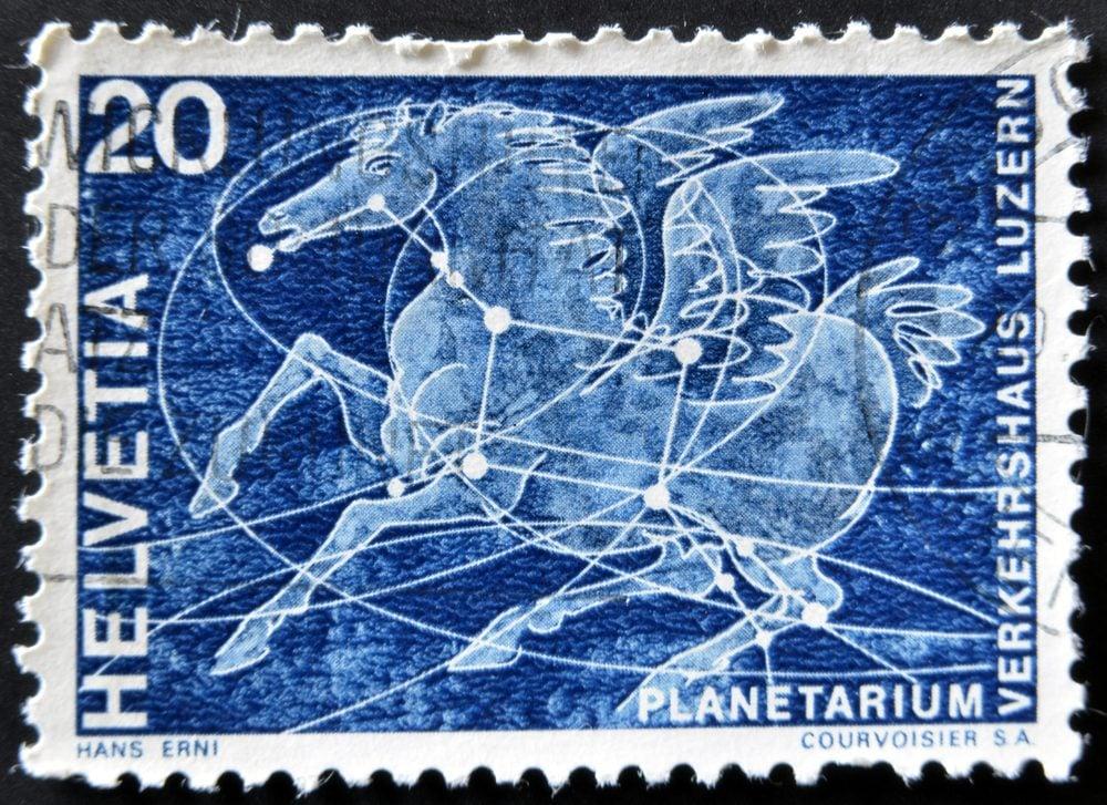 SWITZERLAND - CIRCA 1969: A stamp printed in Switzerland shows the constellation of Pegasus, circa 1969