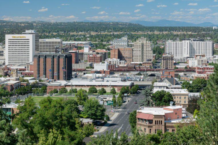 SPOKANE, WASHINGTON - JULY 23: Downtown Spokane from Edwidge Woldson Park on July 23, 2017 in Spokane, Washington