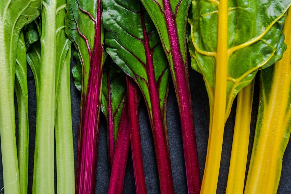 Swiss rainbow chard, vibrant vegetable. Flat lay, from above on dark slate.