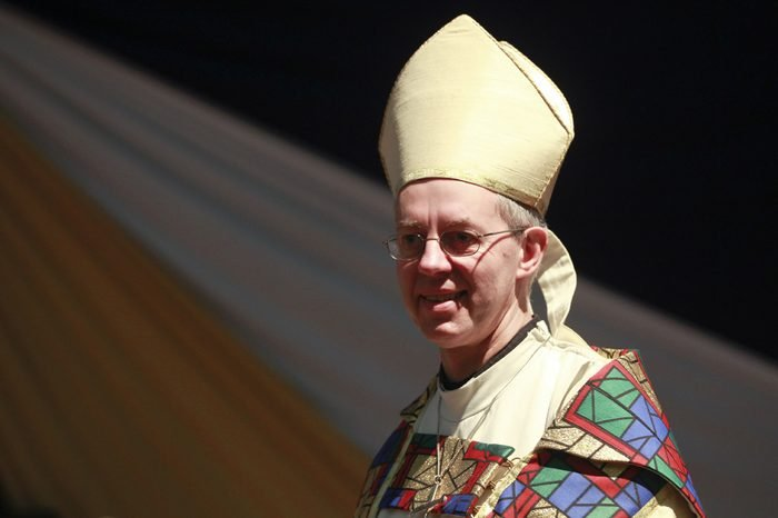 The Archbishop of Canterbury Justin Welby Smiles During a Service at the All Saints' Cathedral in Nairobi Kenya 20 October 2013 Justin Welby Flew in to Nairobi Just Before the Global Anglican Future Conference (gafcon) to Be Held in Nairobi From 21 October to Meet Primates and to Show 'Solidarity' with the Kenyan People in the Wake of the Westgate Shopping Mall Attack That Killed 67 People the Lambeth Palace in London Said Kenya Nairobi