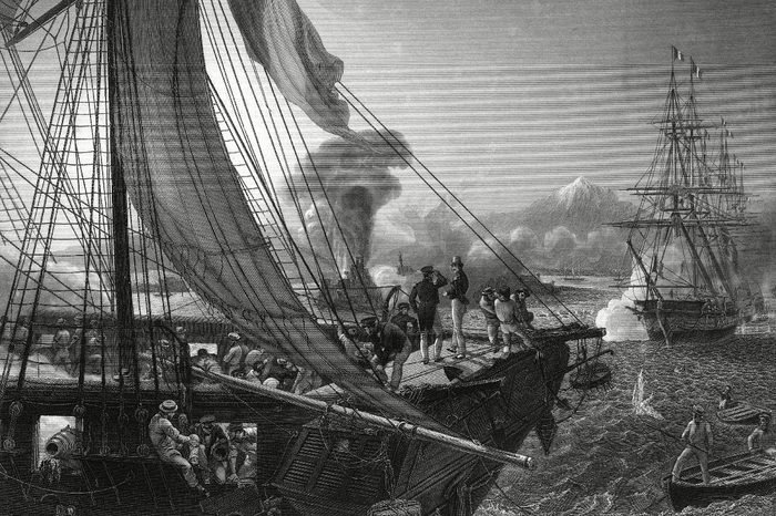 The French Navy Bombarding the Fort of San Juan De Ulua (saint-jean D'ulloa) Overlooking the Seaport of Veracruz in Mexico During the Pastry War 27 November 1838
