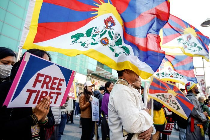 Tibetan exiles and supporters shout slogans as they march at a street during a protest in Taipei, Taiwan, 10 March 2018 to mark 59 years of exile of the Dalai Lama in India. The marchers demand China allow freedom of religion in Tibet and allow the Dalai Lama and Tibetan exiles to return home. The Dalai Lama fled Tibet to India in March 1959 following a failed uprising against Chinese troops. He has been living in Dharamsala, northern India, where the Tibetan government-in-exile is based.