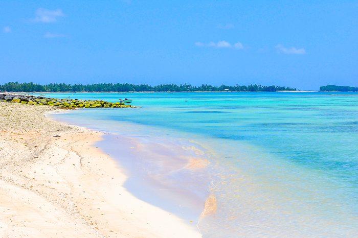Tuvalu island paradise beach blue lagoon on pacific island sea and ocean