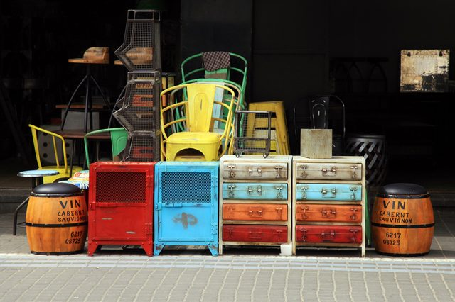 Vintage furniture and other staff at entry to shop at Jaffa flea market district in Tel Aviv-Jaffa, Israel.
