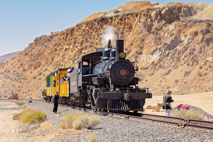 Virginia City/Nevada/USA - May 9, 2015: Locomotive that runs on the Virginia and Truckee Railroad. A short train ride from Virginia City to Silver City Nevada.