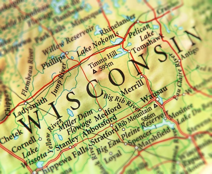 Geographic map of US state Wisconsin with important cities