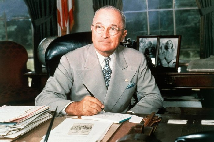 This 1948 portrait of Harry S. Truman at his White House office desk