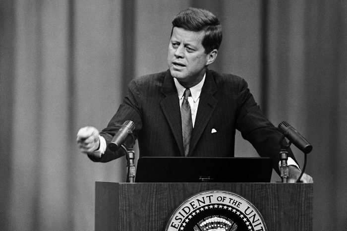 John Kennedy, JFK President John F. Kennedy answers a question during his news conference at the State Department auditorium in Washington on