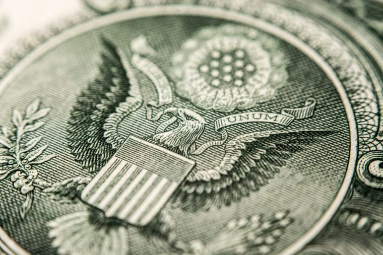 US Dollar bill, super macro, close up photo, eagle