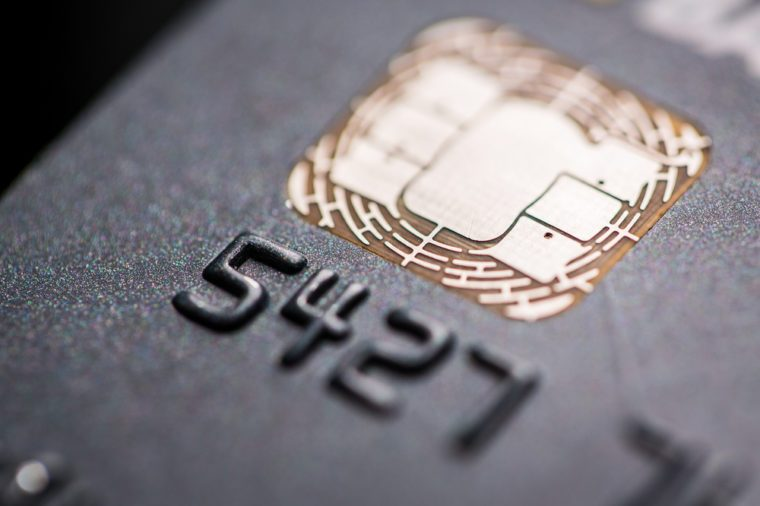 Macro photo detail of a credit card