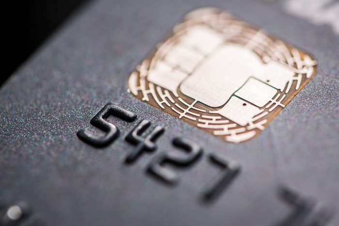 Macro photo detail of a credit card