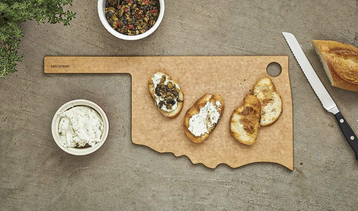 Oklahoma-shaped cutting and serving board
