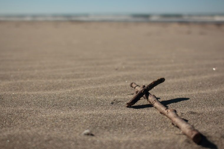 Sticks in the Shape of a Cross at Long Beach in Washington State