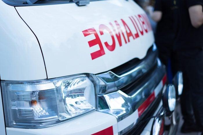 Ambulance cars in hopital.