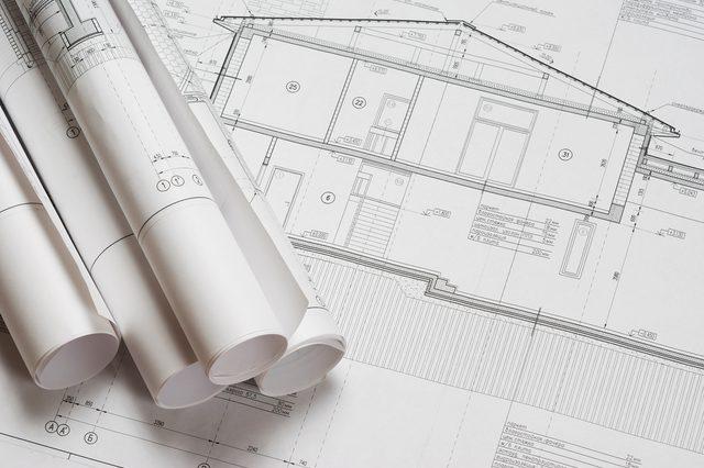 House plan blueprints roled up
