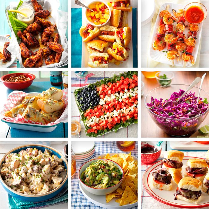 collage of nine Festive Fourth Of July Appetizers