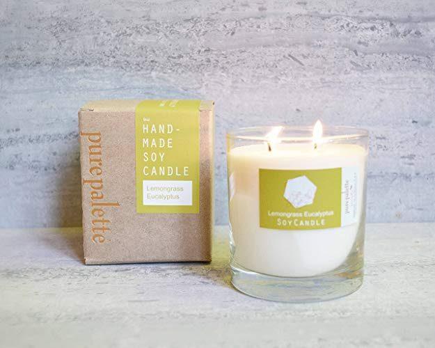 Handmade lemongrass eucalyptus candle