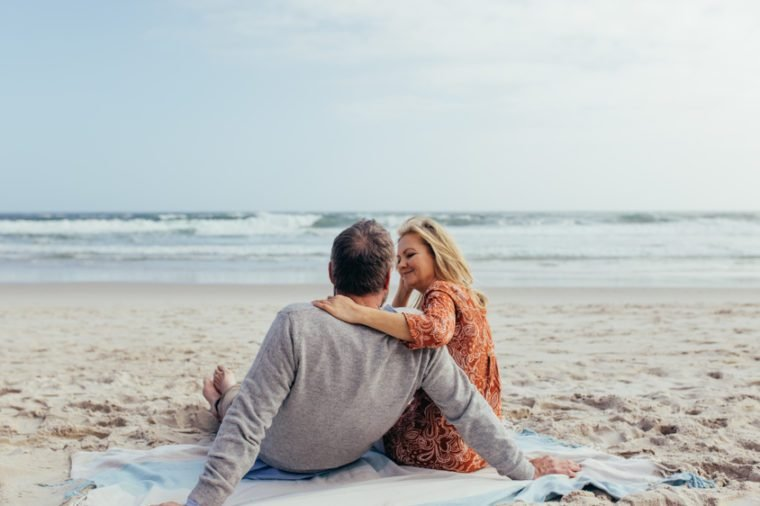 Rear view shot of mature man and woman sitting together on beach towel along the sea shore. Romantic senior couple relaxing on the beach.