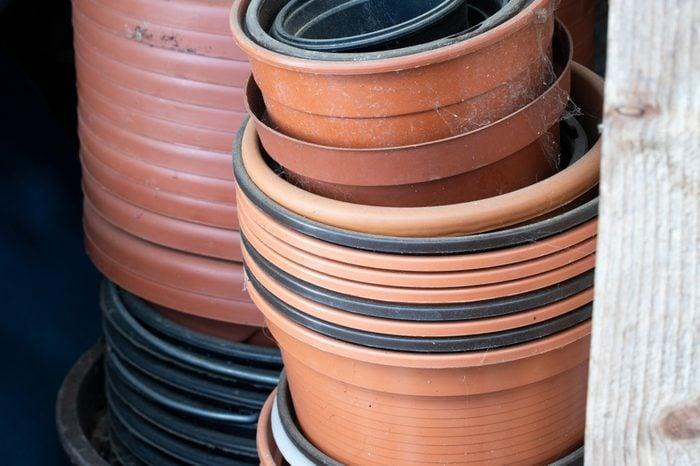 some plastic pots