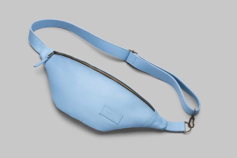 Light blue leather waist bag