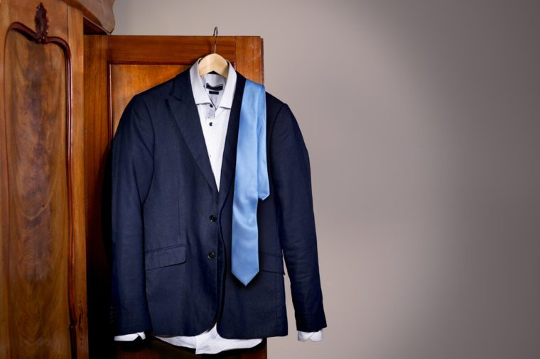 Jacket, tie and shirt hanging