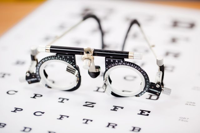 Closeup of eye test glasses on Snellen chart