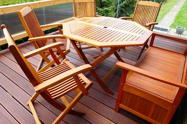 Wood patio furniture freshly oiled