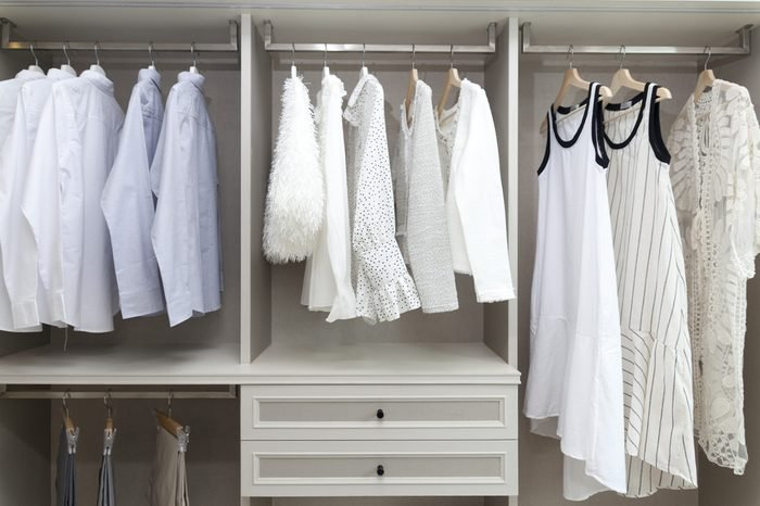 white blouses and cloth in closet