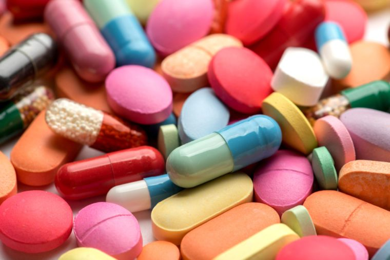 Pharmacy theme. Multicolored Isolated Pills and Capsules