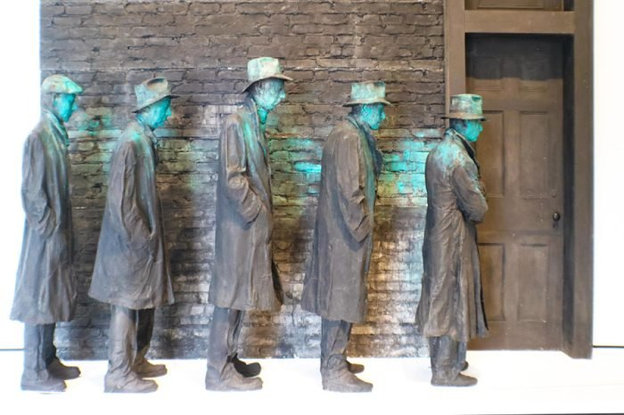 Sculpture of men lined up during US Depression at USA, Arkansas, Bentonville, Crystal Bridges Museum of American Art, 8-24-2017