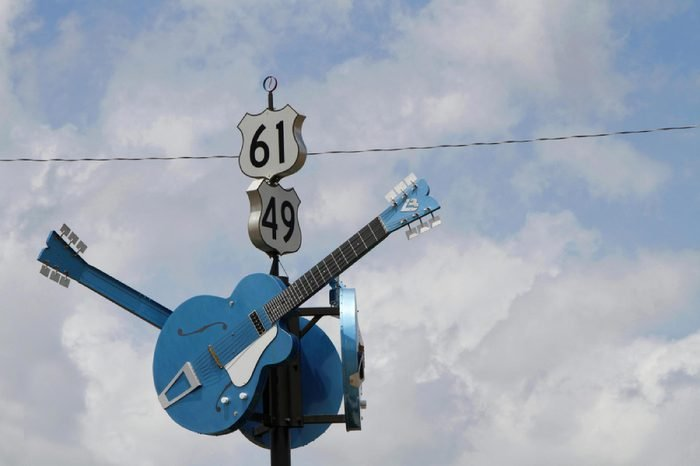 CLARKSDALE, MISSISSIPPI, May 8, 2015 : Guitars show the junction of US 61 and US 49 often designated as the famous crossroads where, according to legend, Robert Johnson sold his soul to the Devil